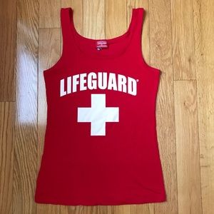 Lifeguard red and white large tank top